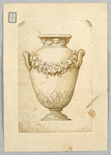 Vertical rectangle showing vase decorated with a garland and small masks.