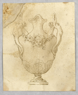 Vertical rectangle showing a vase with a coiled serpent at its base and a pair of winged female nude as handles.
