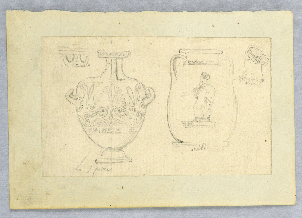 Two views of Greek pottery and a detail of a woman's head in profile.