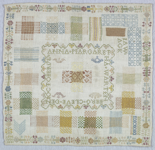 Central pattern darning cross within inner border and signature surrounded by seventeen darning crosses and squares and floral outer border.