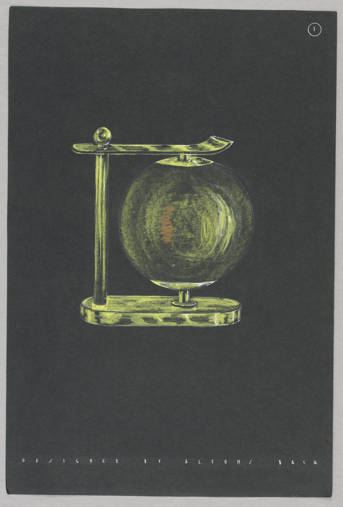 Drawing, 1. Green globe table lamp