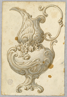 Design for an ewer, spout facing left. Scrolling handle and foot. Flowers and center.
