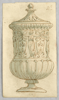 Vertical rectangle showing a footed vase decorated with women holding heraldic shields.