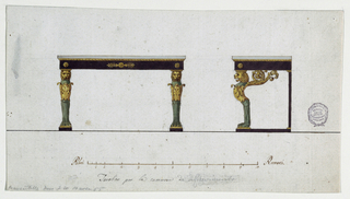 A design for a console table showing front and left side elevations. The marble table top is supported by two legs in front designed to resemble lion chimaeras, with elaborately designed ornamental wings that curve back toward the rear supports. The frame is decorated with rosettes and palmettes. Below is the scale: Palmi Romani.  Verso: in graphite, sketch of the plan of a sparsely furnished room.