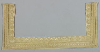 Band of embroidery for square neck of a blouse. White cotton with embroidery in yellow and white silk. Parallel lines of hemstitching and a row of geometric ornaments near neck.