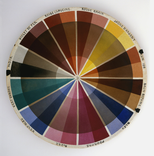 "Circular, slightly concave plate with 12 pie-wedge sections of various colors in light and dark hues; names of colors in French around rim, above each wedge (starting at top going clockwise):  ""ROSE, VERT-BLEU, VERT CHRÓME, NOIR, VIOLET DE FER, ROUGE CAPUCINE, ROUGE CHAIR, JAUNE D'ARGENT, BRUN 108, BRUN BITUME, BLEU, POURPRE""; wide circular band of tan glaze overlaps wedges, creating sections of tinted colors; in center of plate, overlapping initials ""R[backwards]EC"" in tan glaze.  Plate mounted in hanger of three metal straps and wire."