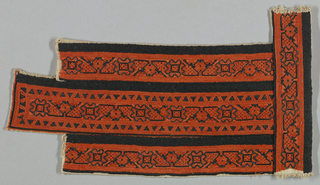 Bands of embroidery to be used on a blouse. Component A is a piece from the front of the blouse. Component B intended for a cuff or collar. Stripes of geometric designs in orange and black silk on white cotton.
