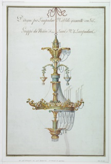 Vertical rectangle. Design for a chandelier made up of four sections.  Above, suspended on a vine branch with stick, two vases, alternative suggestions, with a ring for candles.  Chains and pendants of crystal.  These and the candles are in general only drawn of the right half.  Suspended, with a cord, above a knob.  The edges are colored dark olive with inside a border line.  Inscription in the upper part of the sheet.