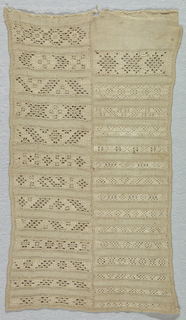 Originally part of a larger sampler. Twenty-eight bands of pattern in withdrawn element work arranged in two columns.