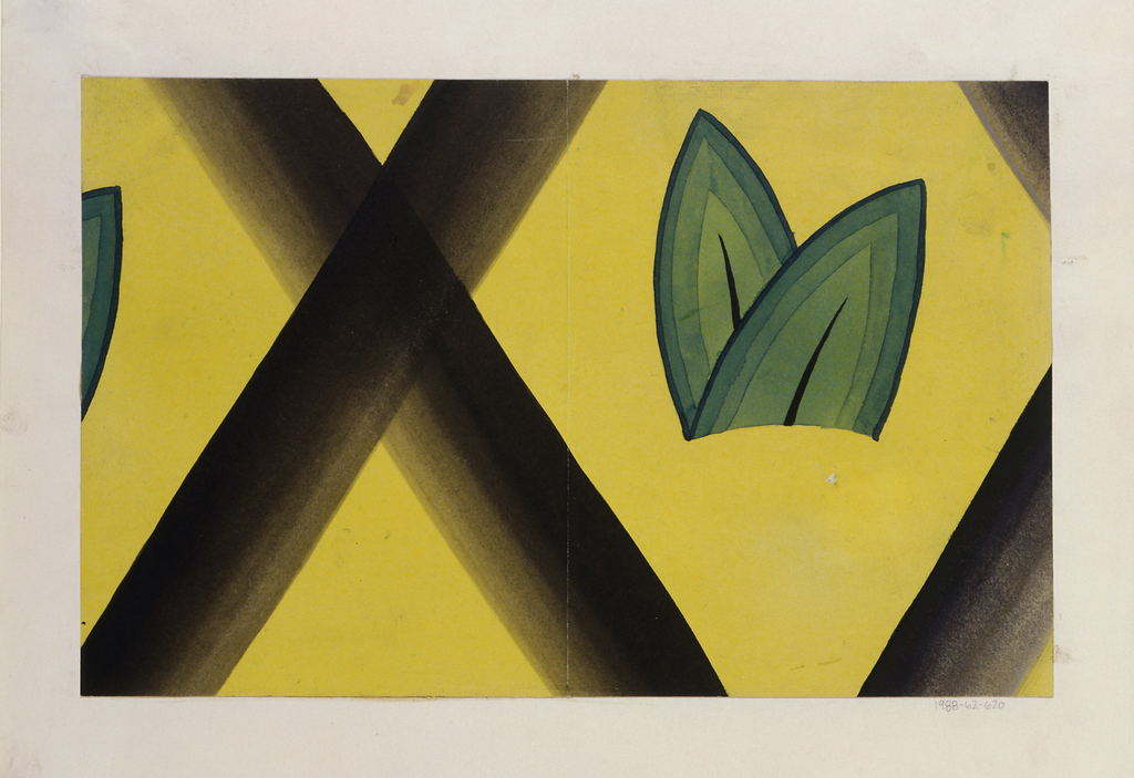 Pair of stylized green leaves, arranged within in a diamond-shaped yellowish background, formed by crossed diagonal black lines (on  the yellow background).  At left, the tip of green leaf suggests the pattern repeat.