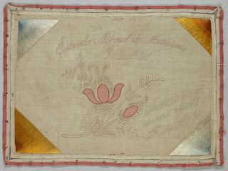 Horizontal rectangle with a flower and inscription in the center; sunbursts of color in each corner. Sampler has been machine sewn to twill tape for mounting in a frame.