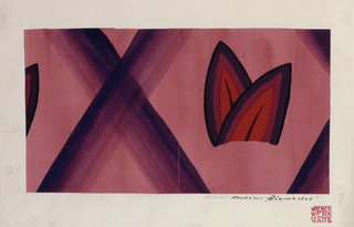 Pair of stylized purple and orange leaves, arranged within a diamond-shaped pinkish background, formed by crossed diagonal purple lines (on the pink background).  At left, tip of purple leaf suggests pattern repeat.