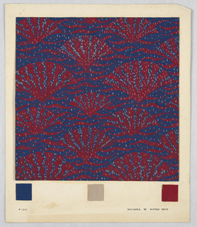 Red fan-shaped pattern on a navy background.  Waves drawn in between and gray speckles throughout the drawing. Below, three colored squares of the colors represented in the design.