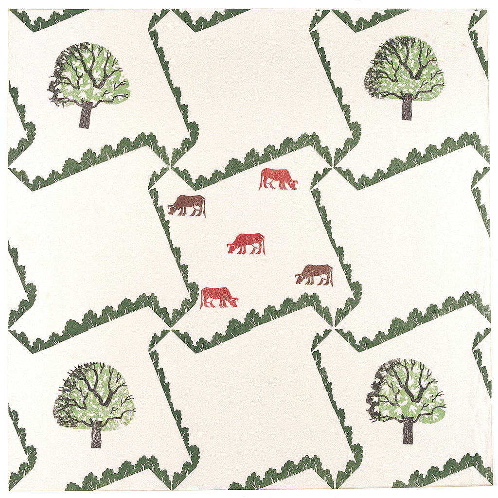 Hedge-like framework containing alternating designs of trees and cows. Printed in green, red, brown and black on white ground.
