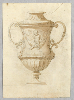 Vertical rectangle showing a vase with a putti swinging on a swag.