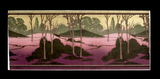 Landscape design; repeating clusters of brown semi-leafless trees growing from grassy mounds in foreground, against line of green trees and gold sky. Earth graduates from deep red to pink.