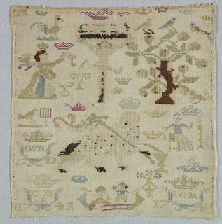 Lower part of a sampler with scattered motifs including Christ on a cross, a pear tree with birds, the Agnus Dei, a woman spinning, a man bringing flowers to a woman in a boat and crowned initials.