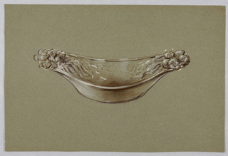 Drawing, Oval bowl with floral end