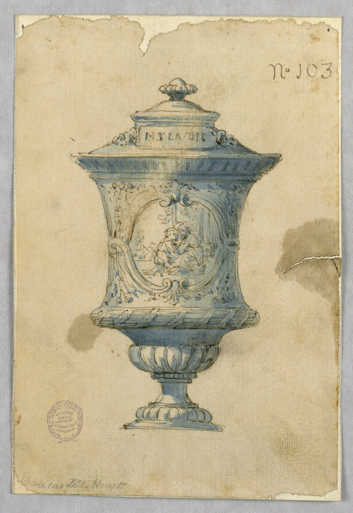 Elevation of a footed vase with cover. Two bands of gadrooning at bottom. Waisted center with cartouche enclosing two figures. Tablet across lid, beneath a finial.