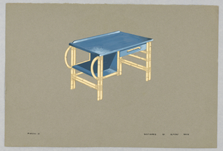 Drawing, 21. Bamboo desk with blue