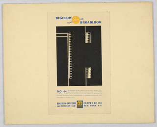 Advertisement depicts a decorative rug with abstract geometric designs in gray and cream on black background. Text in yellow and blue, upper center: BIGELOW Lokweave BROADLOOM; below image, in blue: 6001-64 This decorative rug […] in the use of color. [five lines of text]; lower margin, in blue: BIGELOW-SANFORD [logo] CARPET CO. INC. / 140 MADISON AVE. [logo] NEW YORK. N.Y.