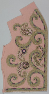 Embroidered bands worked in colored wools, silks and beads arranged as border and scrolls on pink rayon ground.