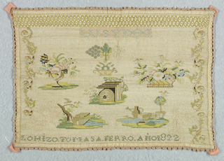 Detached motifs including landscapes and floral forms with the letters W.S.Y and a band of eyelets.  Edged with needlepoint lace stitches.