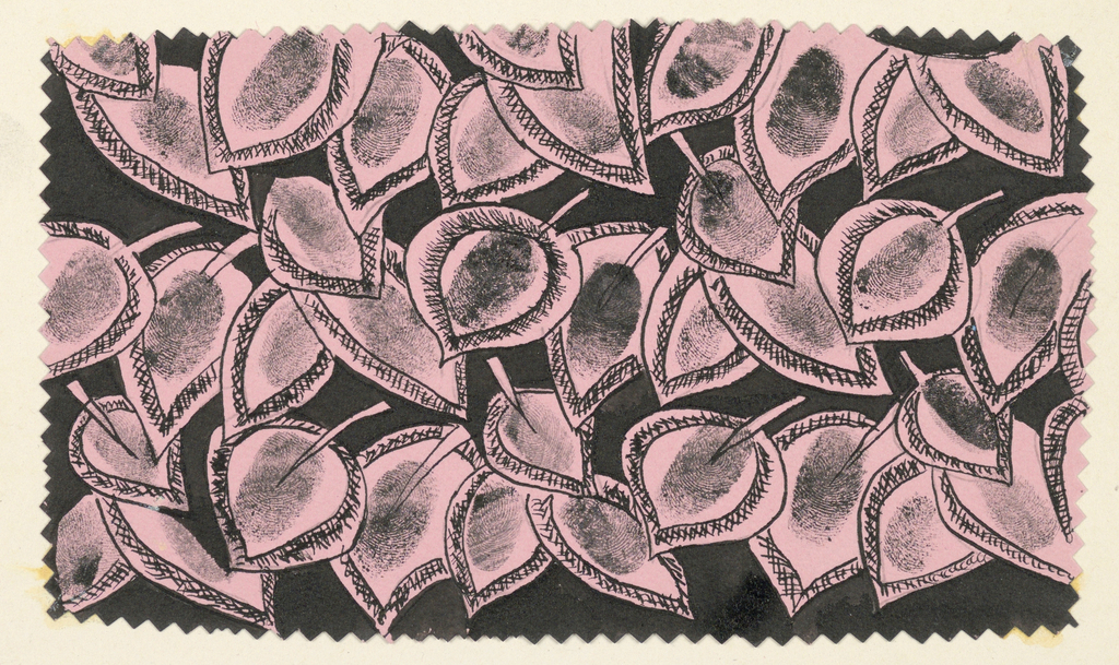 Drawing, Textile Design: Stylized Leaves with Thumb Prints, 1940s