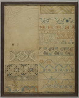 Silk in blues, greens, yellows and pale oranges on white cotton. Composed in two sections: on the left, only half completed, geometric pattern bands with deflected element work. On the right, cross stitch floral bands, a cross stitch band with mice, alphabets and numerals, satin stitch floral and vine patterns.