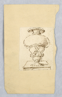 Loose sketch showing the elevation of a footed vase decorated with a mask and two swags.