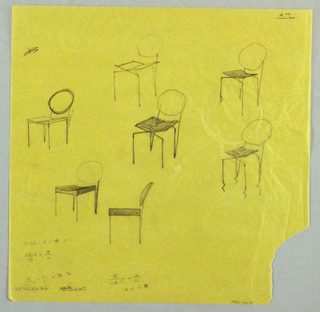 Seven studies for chairs with round backs shown in elevation and oblique view. Mathematical calculations at lower left.