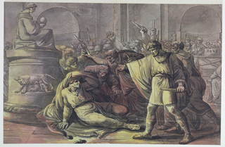 Brutus stands in profile in the right foreground over the dying Caesar to his left. Caesar shields his head with his tunic and lies before a classical statue representing Imperial Rome. A throng of angry senators are shown, with knives upraised and with fasces in the background. On the upper right, a plinth with S.P.Q.R. (in reverse) appears.