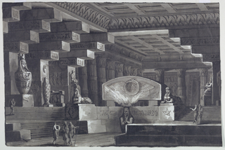 Horizontal rectangle. Interior of Egyptian temple with sarcophagi and sacred images. Two sphinxes on pedestals, one marked with five-pointed star. At center, sculpture with braziers provides interior light. Group of three robed figures walking at lower left, pair of figures at right walking in opposite direction up stairs.