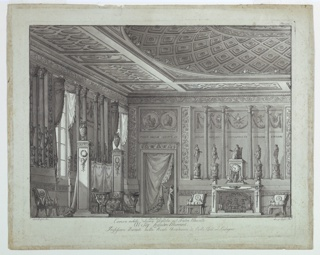 Horizontal rectangle. A richly furnished room in the classical style, with a fireplace and curtained door, in which a figure stands at the back. A large divan and tall windows at the left.