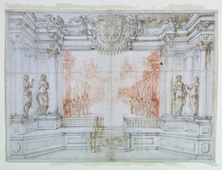 Drawing, Proscenium and Stage Design: Scene 1, Ballet celebrating the marriage of Leopoldo Cesare, Duke of Mantua, and Claudia Felice, Archduchess of Austria, 1674