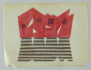 Early concept drawing for screen. Four panel screen in the form of four figures.  The upper half of figures is painted red, the lower half is painted with black and white stripes, with short grass skirt sketched on top. Each figure distinguished by small drawing in black. Reading from left to right, left has figure with 15-pointed star, figure with diamond design pattern, flag with four X's, target. Lower half of figures, horizontal black stripe skirts sketched in with graphite.