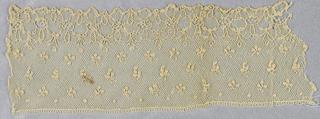Needle lace edge sample, floral pattern; late 18th century Alencon