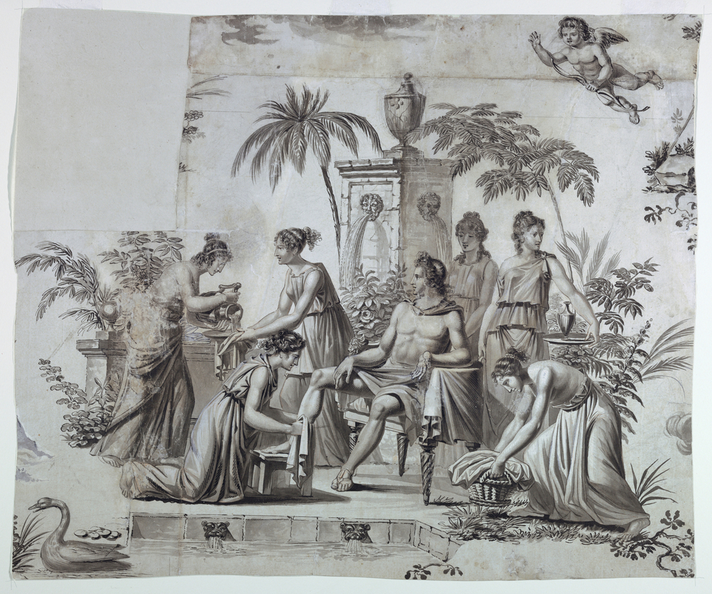 Apollo is seen seated in chair near fountain being cared for by six muses. Upper right, cupid flies overhead.