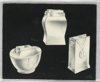 "On black ground, designs for three lighters: at top center, unadorned, rectangular lighter; bottom left, bowl-shaped lighter with chevron motif engraved along the sides; at lower right, thin vertical rectangular lighter with applied (engraved?) ribbon and dangling medal with initials ""V.L"" on front."