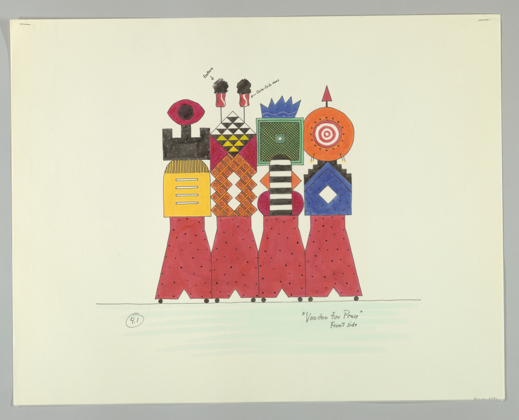 Four panel screen in the form of four abstract, highly decorative, colorful figures on wheels. Each figure is distinguished by individually-shaped heads and different shapes and patterns on the torso.  Reading from left to right:  figure with red elliptical head; figure with headdress of red cans and black feathers; figure with blue crown; figure with orange target head with arrow on top.  Lower half of all figures is red with black dots.