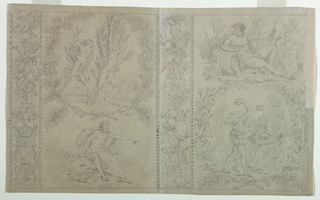 The design is composed of four vignettes separated by wreaths, showing: upper left, Apollo and Daphne (personifying Ai); lower left, Jupiter and an eagle (personifying Fire); upper right, a river god (personifying Water); lower right, Deucalion and Pyrrha (personifying Earth). Vertical strips separate the scenes in pairs, and include trophies symbolizing the elements. Wreaths encircle the vignettes showing Air and Earth.