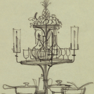 2 designs for round tiered buffet tables; small detail in upper right.