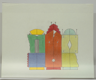 Three panel screen on wheels in form of three abstract, brightly-colored buildings.  Left-most structure has turquoise dome with two antenae; central stucture with red skyscraper motif and two antenae; right structure with yellow fan-shaped pediment.