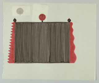 "Black screen with red and black speckled irregular side borders:  left border with saw tooth motif; right border with wavy motif.  Red clock reading ""1:00"" at top center; smaller black circles with red balls on top at either end. On verso, two pieces of tracing paper taped to sheet:  at upper center, red star in black circle; at upper right, black clock with red hands reading 4:00."