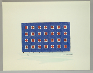 Five panel screen on wheels in blue, speckled with white dots.  Square cut outs throughout:  seven across and four down, in which red dice are suspended.
