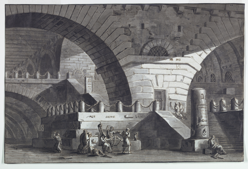 Drawing, Stage Design, Prison Interior with the Death of Socrates