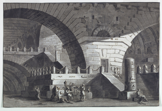 Horizontal rectangle. Interior of antique prison with high vaults. In foreground, group of figures in conversation with seated prisoner to whom they seem to offer the poisoned drink meant to kill him, likely an illustration of the death of Socrates.