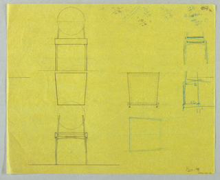 Multiple studies for stacking chairs, seats and legs.