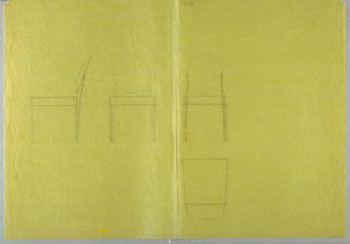 Four measured studies for chair with round seat back.