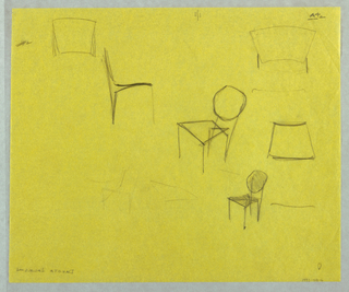 Various rough sketched including oblique view of chairs and seat back details.